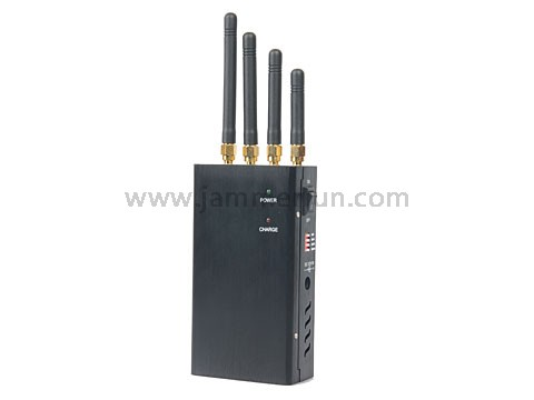 Portable High Power Hand Held 4W Cell Phone Signal Jammer With Single Control Switch And Genuine Leather Case