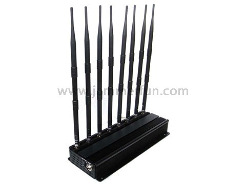 Super High Power Prison Military Jamming System - 8 Antennas 4G LTE WIMAX 3G Wifi UHF VHF Cell Phone Jammer