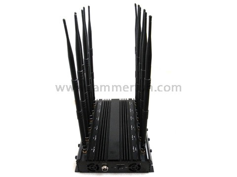 Mobile phone signal Jammer wholesale - 28.5W 12 Antennas Powerful GSM 3G 4G LTE WIMAX WIFI GPS VHF UHF LOJACK Jammer For Sale