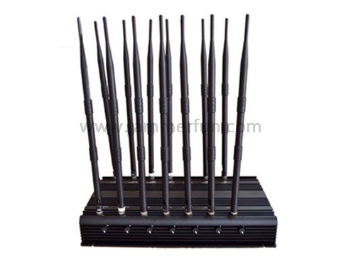 Anti-explostion cell phone jammer 60m , Adjustable 14 Antennas Powerful 3G 4G Cell Phone WiFi UHF VHF GPS Lojack All Bands Signal Jammer Blocker