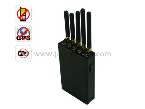 Mobile phone jammer factory | Jammer Wholesale China - 5 Antenna Portable GPS Cell Phone WiFi Signal Jammer