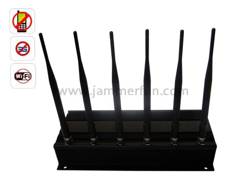 High Power 6 Antenna Cell Phone Signal Jammer Blocker and Jamming Wifi Signal Jammer
