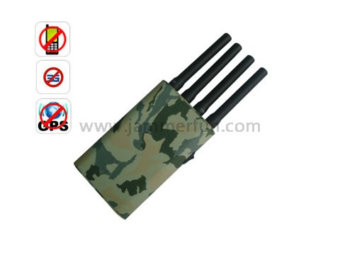 Portable Camouflage Cover Hand Held Mobile Phone 3G GPS Signal Jammer