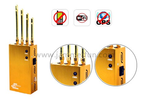 Powerful Golden Portable Cell Phone Wifi GPS Multifunctional Signal Jammer
