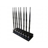 2015 16W Adjustable Powerful GSM CDMA 3G 4G LTE WIMAX WIFI GPS Jammer With 8 Antennas